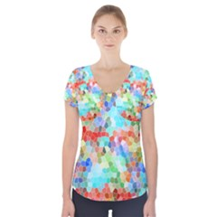 Colorful Mosaic  Short Sleeve Front Detail Top