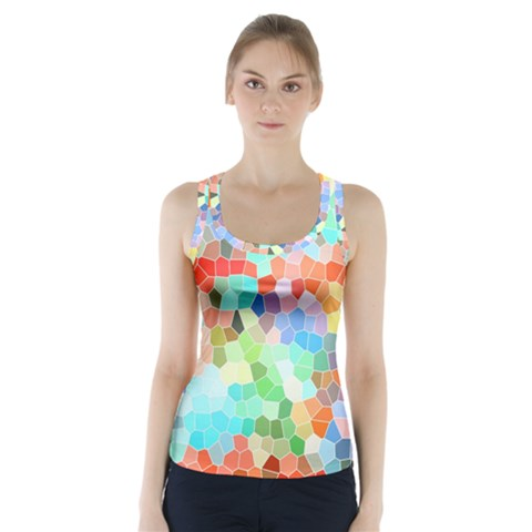 Colorful Mosaic  Racer Back Sports Top