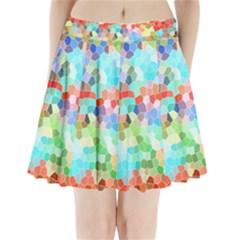 Colorful Mosaic  Pleated Mini Skirt
