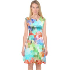 Colorful Mosaic  Capsleeve Midi Dress