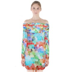 Colorful Mosaic  Long Sleeve Off Shoulder Dress