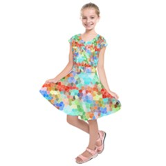 Colorful Mosaic  Kids  Short Sleeve Dress