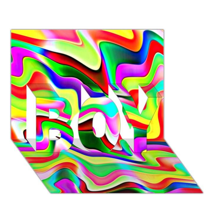Irritation Colorful Dream BOY 3D Greeting Card (7x5)