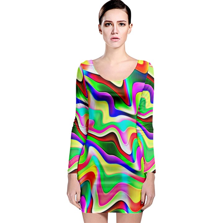 Irritation Colorful Dream Long Sleeve Bodycon Dress