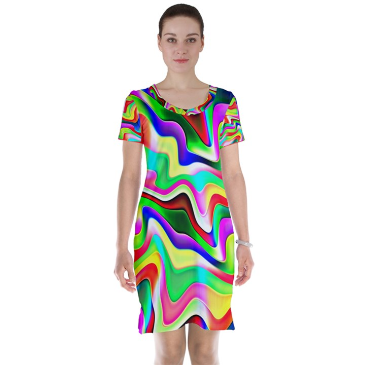 Irritation Colorful Dream Short Sleeve Nightdress