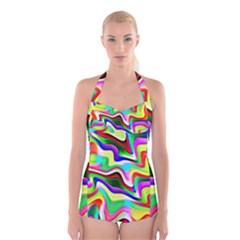 Irritation Colorful Dream Boyleg Halter Swimsuit