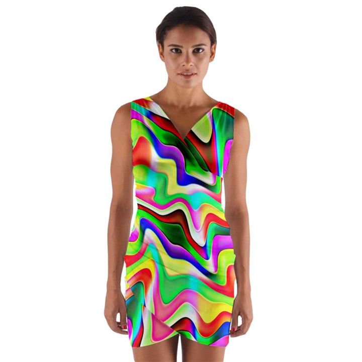 Irritation Colorful Dream Wrap Front Bodycon Dress