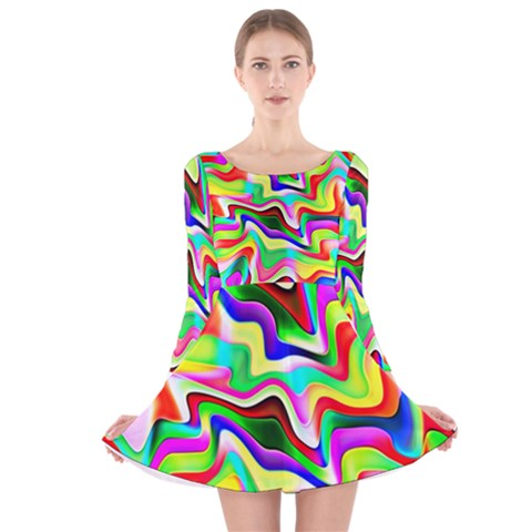 Irritation Colorful Dream Long Sleeve Velvet Skater Dress