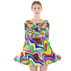 Irritation Colorful Dream Long Sleeve Velvet Skater Dress