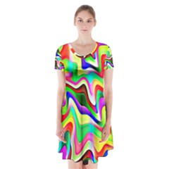 Irritation Colorful Dream Short Sleeve V Neck Flare Dress