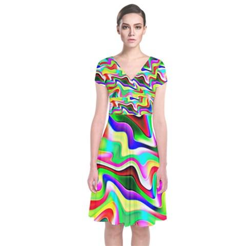 Irritation Colorful Dream Short Sleeve Front Wrap Dress