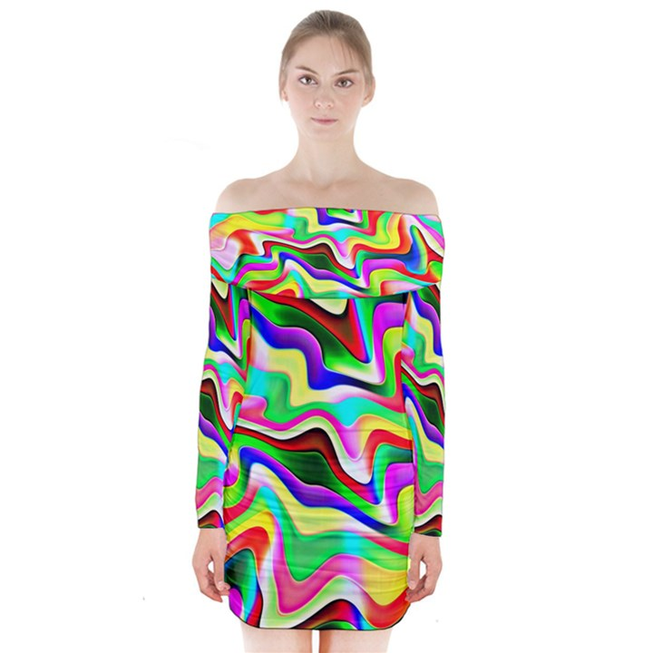 Irritation Colorful Dream Long Sleeve Off Shoulder Dress