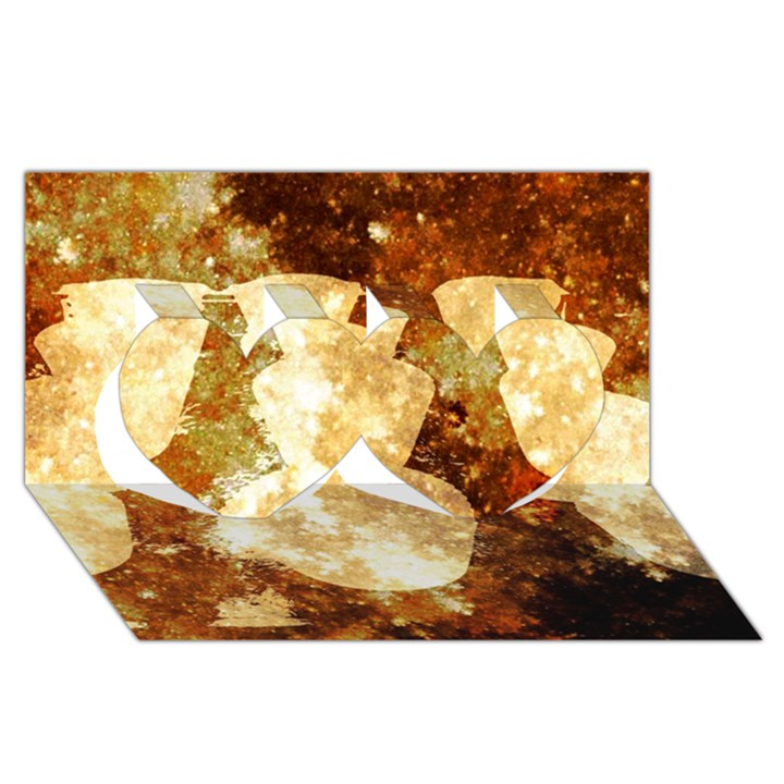 Sparkling Lights Twin Hearts 3D Greeting Card (8x4)