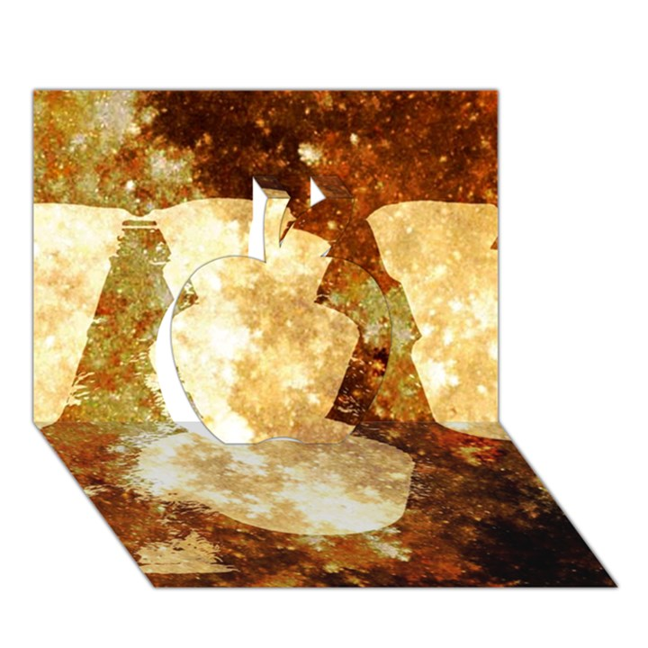 Sparkling Lights Apple 3D Greeting Card (7x5)