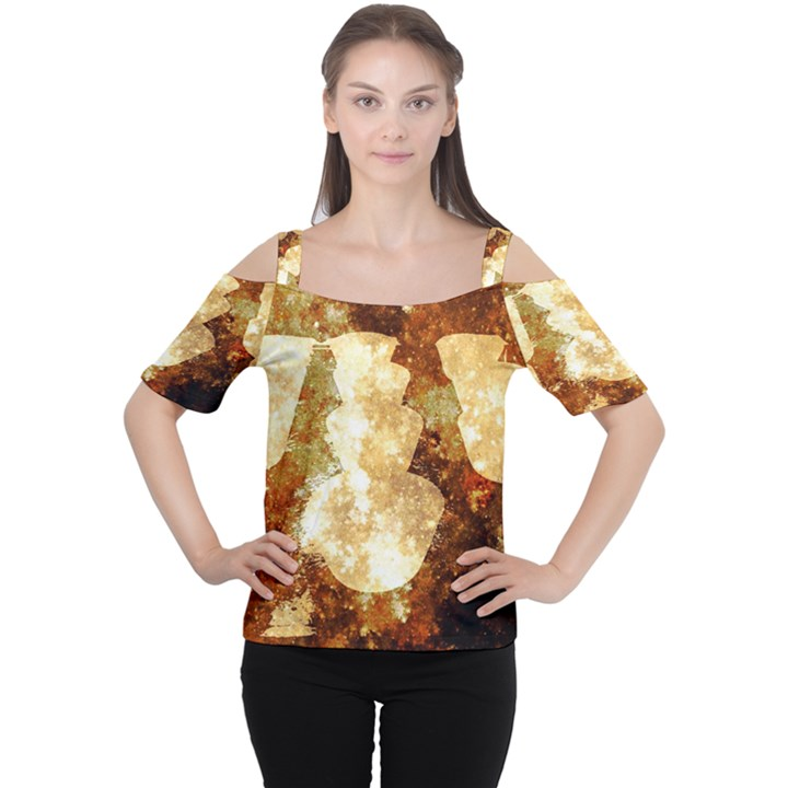 Sparkling Lights Women s Cutout Shoulder Tee
