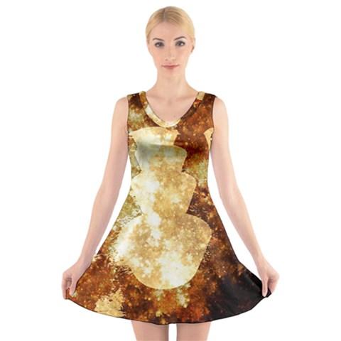 Sparkling Lights V-Neck Sleeveless Skater Dress