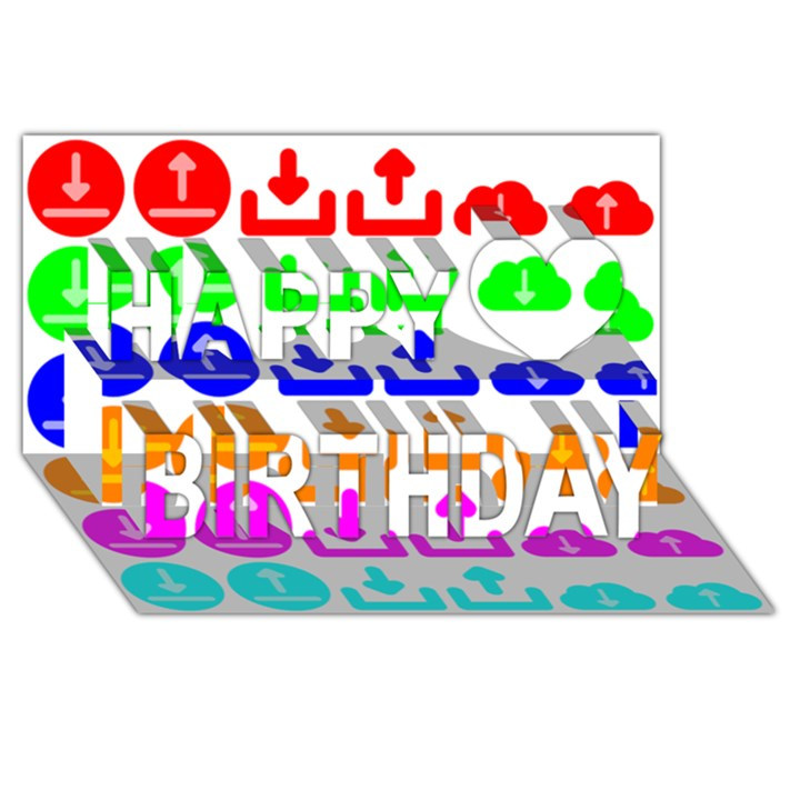 Download Upload Web Icon Internet Happy Birthday 3D Greeting Card (8x4)