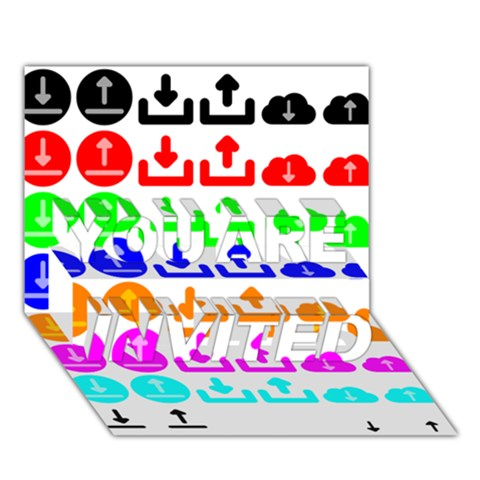 Download Upload Web Icon Internet YOU ARE INVITED 3D Greeting Card (7x5)