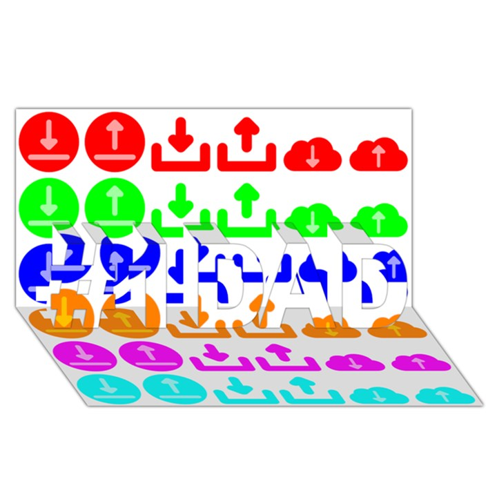 Download Upload Web Icon Internet #1 DAD 3D Greeting Card (8x4)