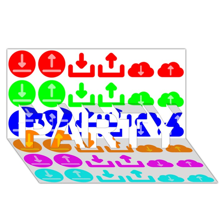 Download Upload Web Icon Internet PARTY 3D Greeting Card (8x4)