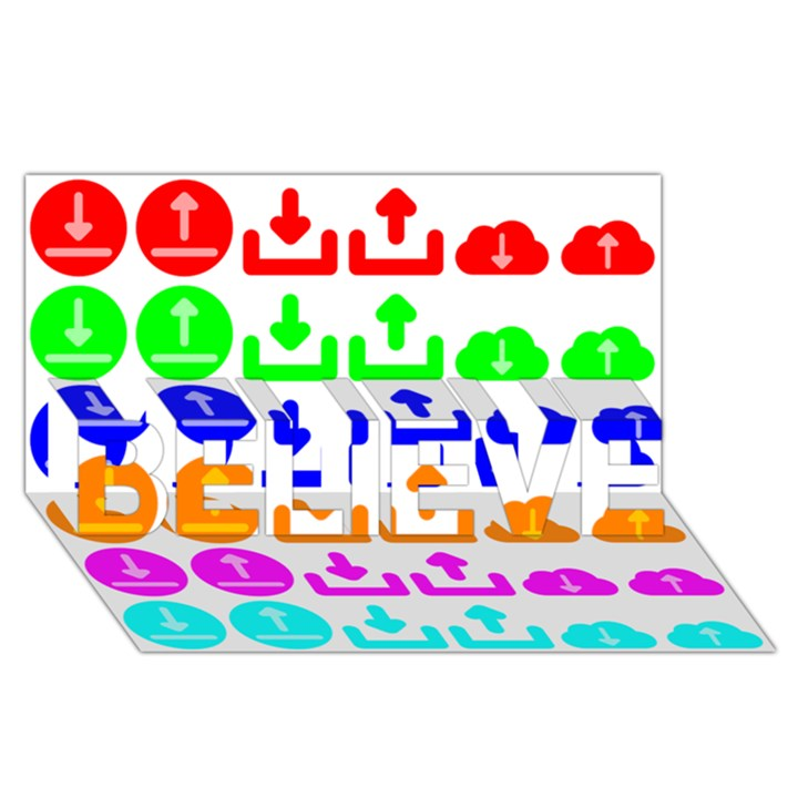 Download Upload Web Icon Internet BELIEVE 3D Greeting Card (8x4)