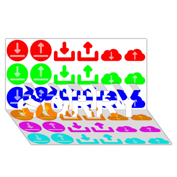 Download Upload Web Icon Internet SORRY 3D Greeting Card (8x4)