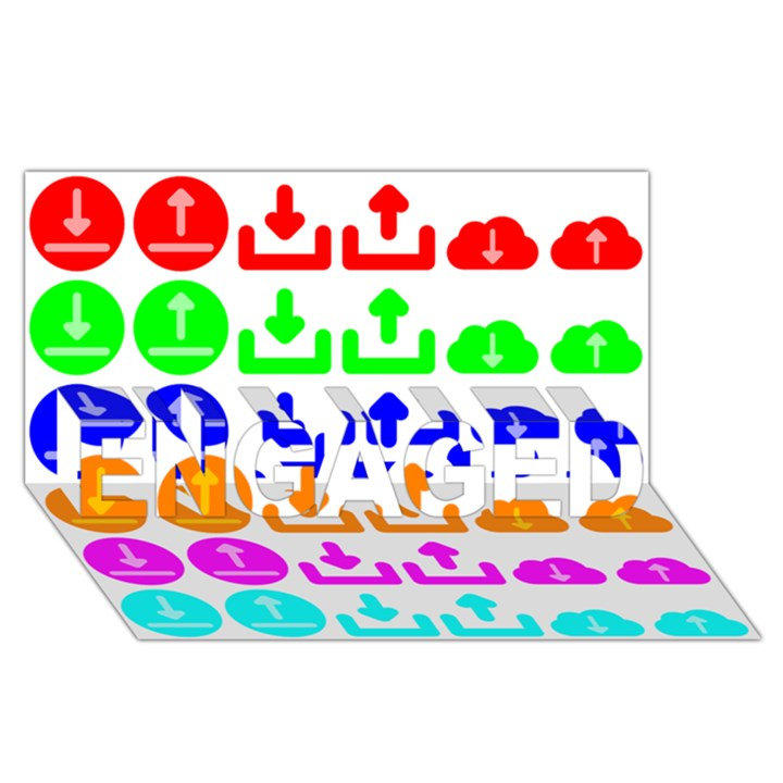 Download Upload Web Icon Internet ENGAGED 3D Greeting Card (8x4)