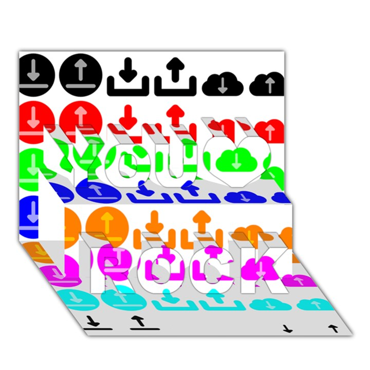 Download Upload Web Icon Internet You Rock 3D Greeting Card (7x5)