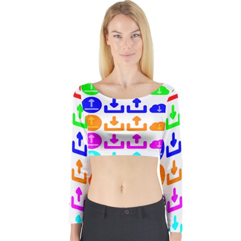 Download Upload Web Icon Internet Long Sleeve Crop Top