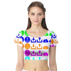 Download Upload Web Icon Internet Short Sleeve Crop Top (Tight Fit)
