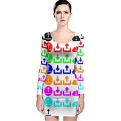 Download Upload Web Icon Internet Long Sleeve Bodycon Dress