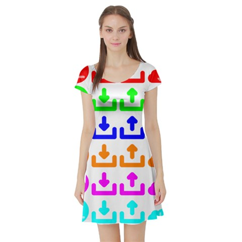 Download Upload Web Icon Internet Short Sleeve Skater Dress