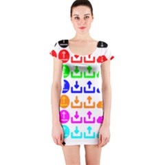 Download Upload Web Icon Internet Short Sleeve Bodycon Dress