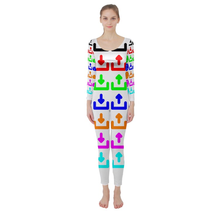 Download Upload Web Icon Internet Long Sleeve Catsuit