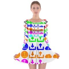 Download Upload Web Icon Internet Long Sleeve Skater Dress