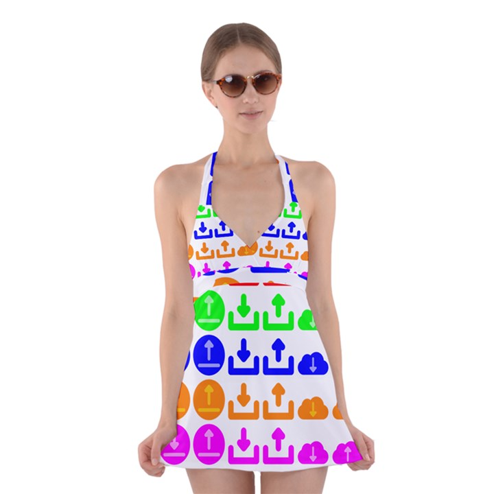 Download Upload Web Icon Internet Halter Swimsuit Dress