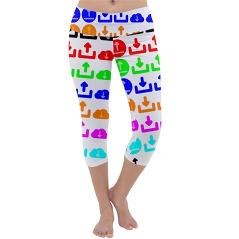 Download Upload Web Icon Internet Capri Yoga Leggings