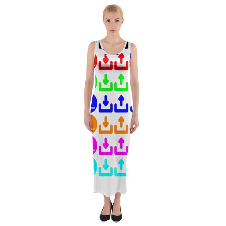 Download Upload Web Icon Internet Fitted Maxi Dress