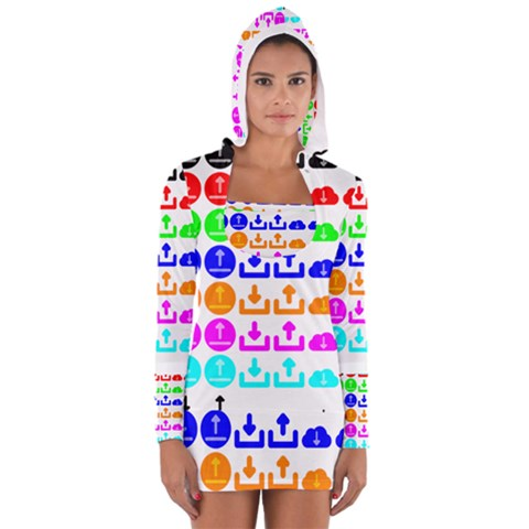 Download Upload Web Icon Internet Women s Long Sleeve Hooded T-shirt