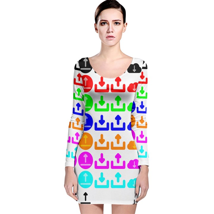 Download Upload Web Icon Internet Long Sleeve Velvet Bodycon Dress
