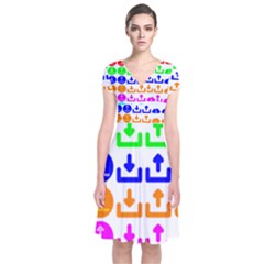 Download Upload Web Icon Internet Short Sleeve Front Wrap Dress