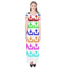Download Upload Web Icon Internet Short Sleeve Maxi Dress