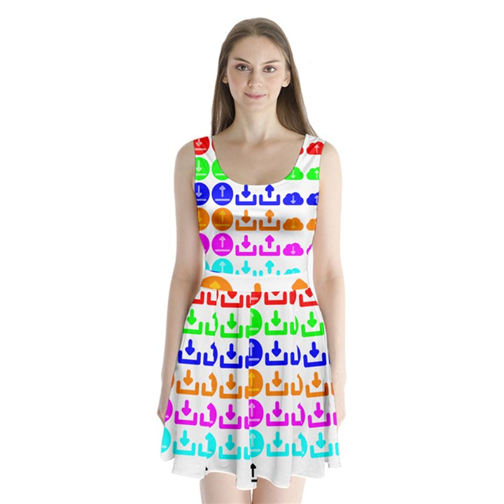 Download Upload Web Icon Internet Split Back Mini Dress