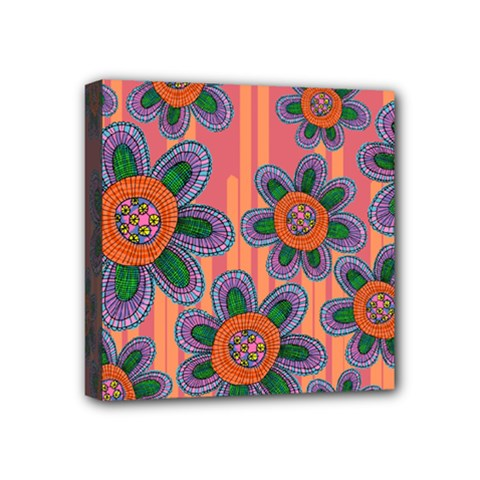 Colorful Floral Dream Mini Canvas 4  x 4