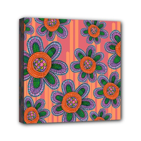 Colorful Floral Dream Mini Canvas 6  X 6