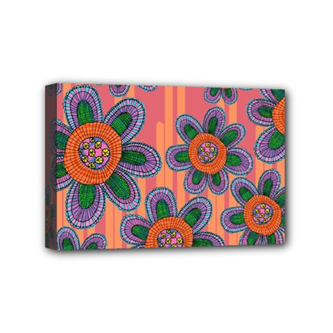 Colorful Floral Dream Mini Canvas 6  X 4