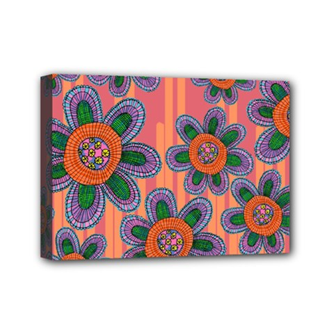Colorful Floral Dream Mini Canvas 7  X 5