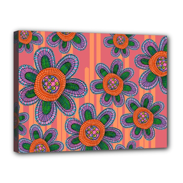 Colorful Floral Dream Canvas 16  x 12