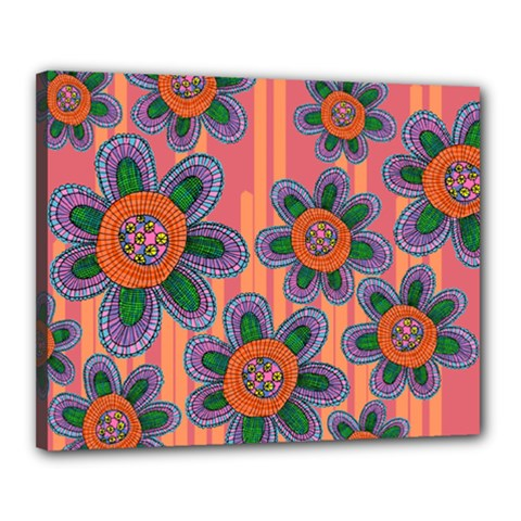 Colorful Floral Dream Canvas 20  x 16
