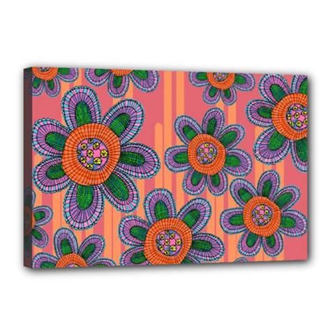 Colorful Floral Dream Canvas 18  X 12